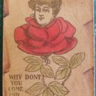 """Gibson Lady in Red Rose """"Y Don't U Come & Get Me""""-ANTIQUE 1907 LEATHER POSTCARD"""