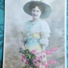 PRETTY LADY in HAT with FEATHERS-HAND TINTED-ANTIQUE FRENCH RPPC PHOTO POSTCARD