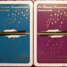 BERGEN LINE CRUISE SHIP & GOLD STARS - VINTAGE TRAVEL SWAP PLAYING CARD PAIR