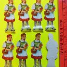 VTG Die Cut 8 SWISS Cookie Picture Scraps Glanzbilder-Red Riding Hood Heidi 5""