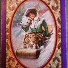 """""""Toboggan""""-LADY FUR MUFF 1908 USPC ANTIQUE VINTAGE USWN SWAP PLAYING CARD NAMED"""