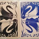 Black & Blue Swan Reflections in Water-1 PR Vintage Deco 50s SWAP PLAYING CARDS