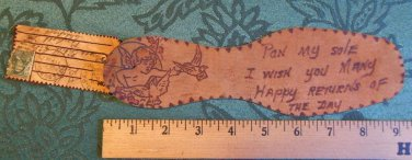 "ANTIQUE DIECUT PON SOLE-LEATHER POSTCARD-CHERUB BIRD-1907 PITTSBURG 9"" Valentine"