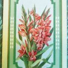 GLADIOLUS-FLOWERS-ANTIQUE VINTAGE USPC NN NARROW NAMED SWAP PLAYING CARD SINGLE