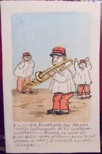FRENCH MILITARY MARCHING BAND WWI-ANTIQUE VINTAGE HAND PAINTED HANDMADE POSTCARD