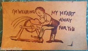 I'm Wearing My Heart Away 4 U-Man at Sander-ANTIQUE UNUSED 1900 LEATHER POSTCARD