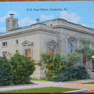 U. S. POST OFFICE CENTRALIA, ILL.- ANTIQUE C. T. AMERICAN ART LINEN POSTCARD