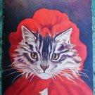 ANTHROPOMORPHIC DRESSED CAT-RED RIDING HOOD-ANTIQUE VINTAGE POSTCARD-BARNES