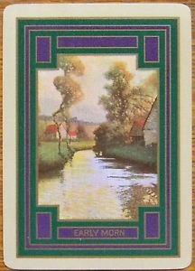 """""""EARLY MORN""""-RIVER SCENE TREES-ANTIQUE USWN WIDE NAMED SWAP PLAYING CARD"""
