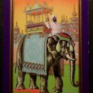 """RAJAH"" Elephant n India-Antique Vintage NN NARROW NAME Swap Playing Card-Purple"