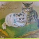 Original Antique Lithographed on Silk New Year Cats Postcard German John Winsch