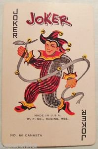 Canasta NO. 66 Joker with Ribbon & Bells - W. P. CO -  Vintage Swap Playing Card