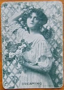"""""""DREAMING""""-VICTORIAN LADY-GREEN-VINTAGE USA WIDE MONOTONE NAME SWAP PLAYING CARD"""