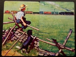 Boy Dog Watches Train Questionable Put Together Pair-Vintage Swap Playing Cards