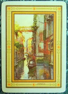 """""""VENICE"""" - c. 1912 USPC CO. ANTIQUE VINTAGE USWN WIDE NAMED SWAP PLAYING CARD"""
