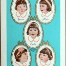 DIONNE QUINTUPLETS CAMEOS 1936 - RARE VINTAGE SWAP PLAYING CARD TURQUOISE BLUE