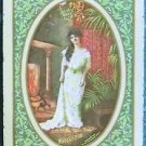 MISTLETOE-HOLIDAY PRETTY LADY-ANTIQUE VINTAGE USWN WIDE NAMED SWAP PLAYING CARD
