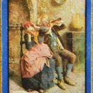 """MUSIC HATH CHARMS"" OLD MAN WOMAN-1 ANTIQUE VINTAGE WIDE NAMED SWAP PLAYING CARD"