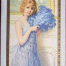 """""""DEBUTANTE""""  LADY FEATHER FAN signed VINTAGE NN NARROW NAMED SWAP PLAYING CARD"""