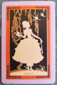 """""""NANETTE"""" SILHOUETTE YOUNG GIRL VINTAGE USNN NARROW NAME SWAP PLAYING CARD NAMED"""