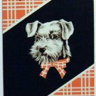 """""""TATTERS"""" TERRIER DOG RED PLAID - VINTAGE ART DECO 1930s NAMED SWAP PLAYING CARD"""