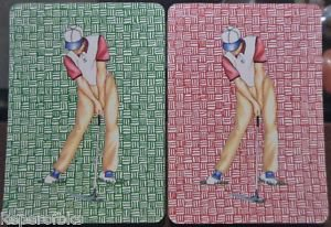 Golfer Preps to Hit Golf Ball-1 PAIR Mid Century Modern Wide Swap Playing Cards