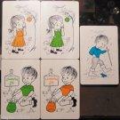 5 VTG Swap Playing Cards 1970 Lemonade Kids Boy Rain Frog-Girl Apple Tree