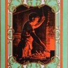 VILLAGE BLACKSMITH-BLACK AMERICANA-ANTIQUE VTG 1905 USWN NAMED SWAP PLAYING CARD