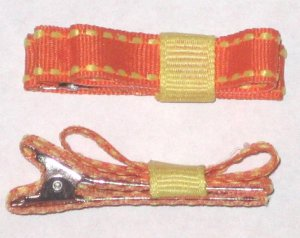 Set of 2 Orange/Yellow Stiched Hair Clips