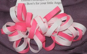 Pink and White Loopy Bow