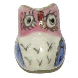 3 Ceramic Owl Beads - Owls
