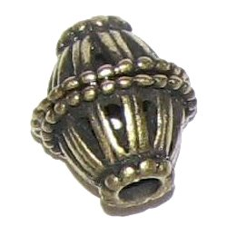8 Antique Bronze Double Basket Beads