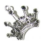 4 Antique Silver Ornate Crown Charms - Crowns
