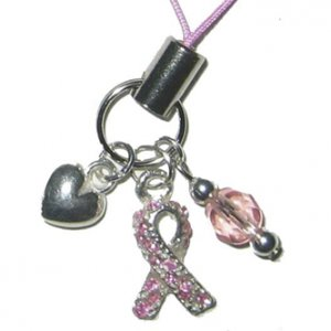 Handmade Sparkle Pink Ribbon Cell Phone Charm
