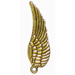 6 Antique Gold Angel Wing Charms - Wings