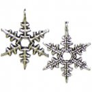 6 Antique Silver Snowflake Charms