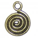 6 Antique Bronze Single Swirl Charms