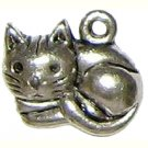 6 Antique Silver Relaxed Cat Charms - Cats