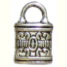 6 Antique Silver Ornate Padlock Charms