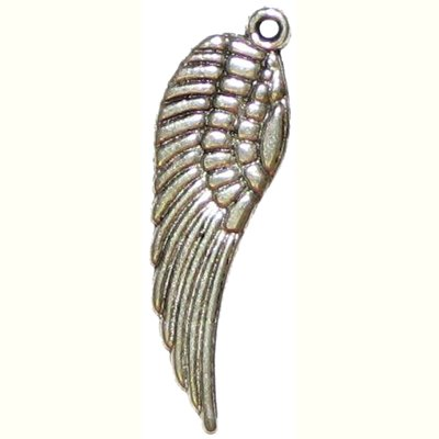 6 Antique Silver Angel Wing Charms - Wings