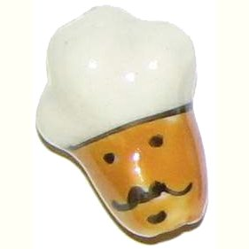 3 Ceramic Chef Head Beads - Chefs
