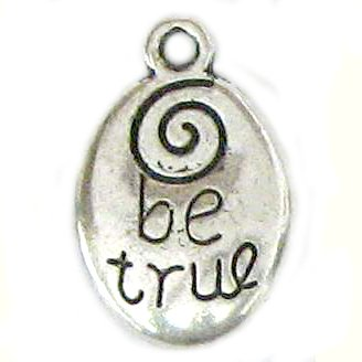 "6 Silver Metal ""Be True"" Charms"