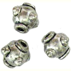10 Antique Silver Sputnik Beads