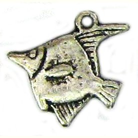 6 Antique Silver Angelfish Charms