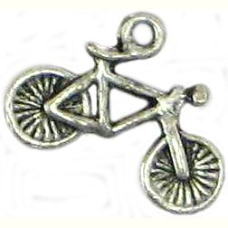 6 Antique Silver Bicycle Charms - Bikes