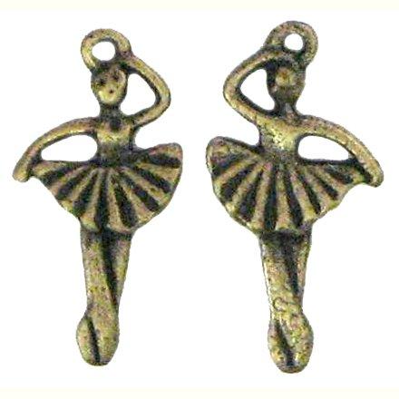 6 Antique Bronze Ballerina Charms
