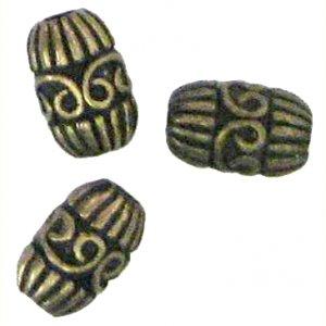 10 Antique Bronze Swirl Barrel Beads