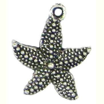 6 Antique Silver Starfish Charms #2