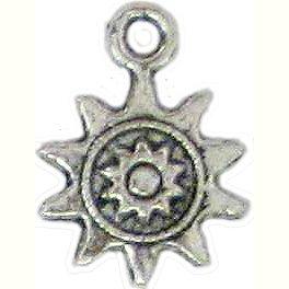 6 Antique Silver Ornate Sun Charms