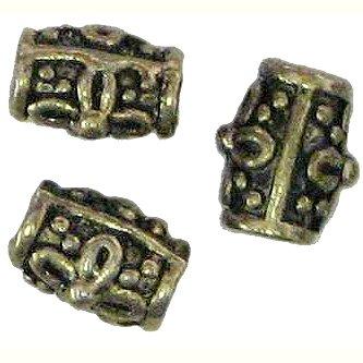 10 Antique Bronze Flowered Barrel Beads